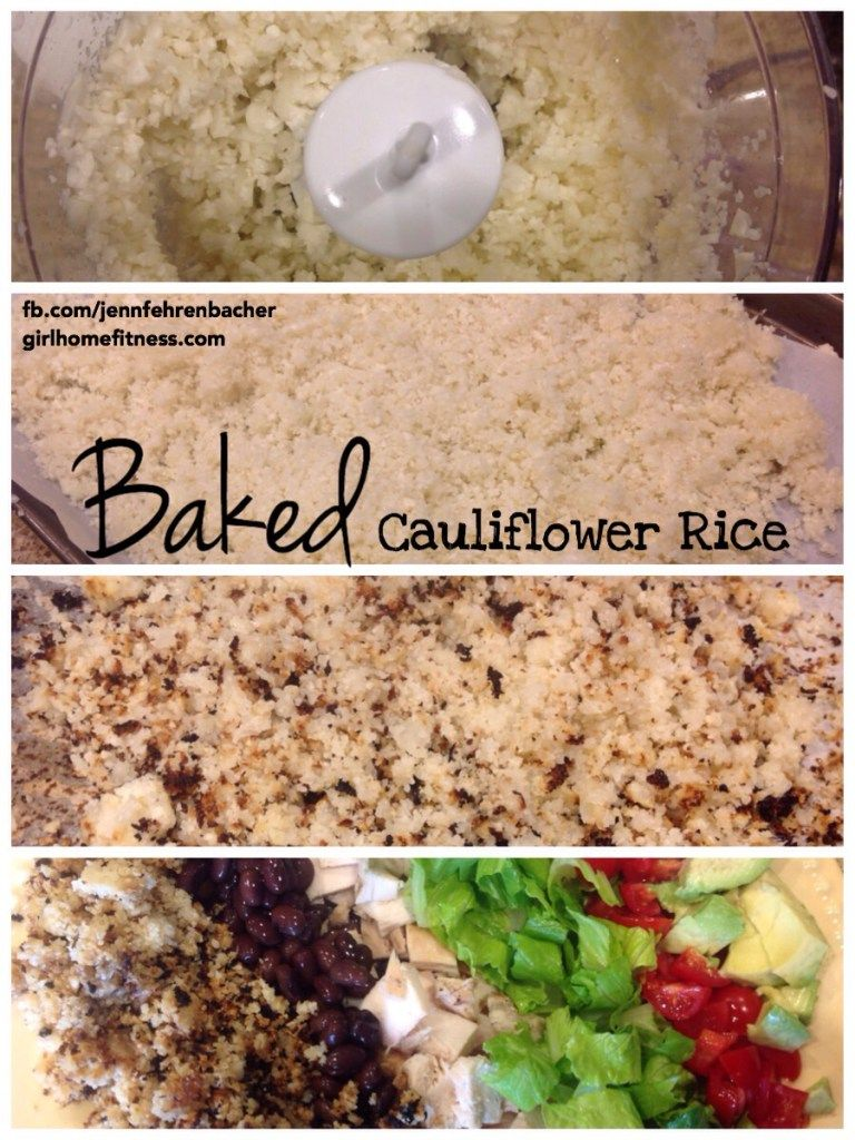 Baked Cauliflower rice. Make with chicken and broccoli stir fry. 1 red, 2 green, tsp