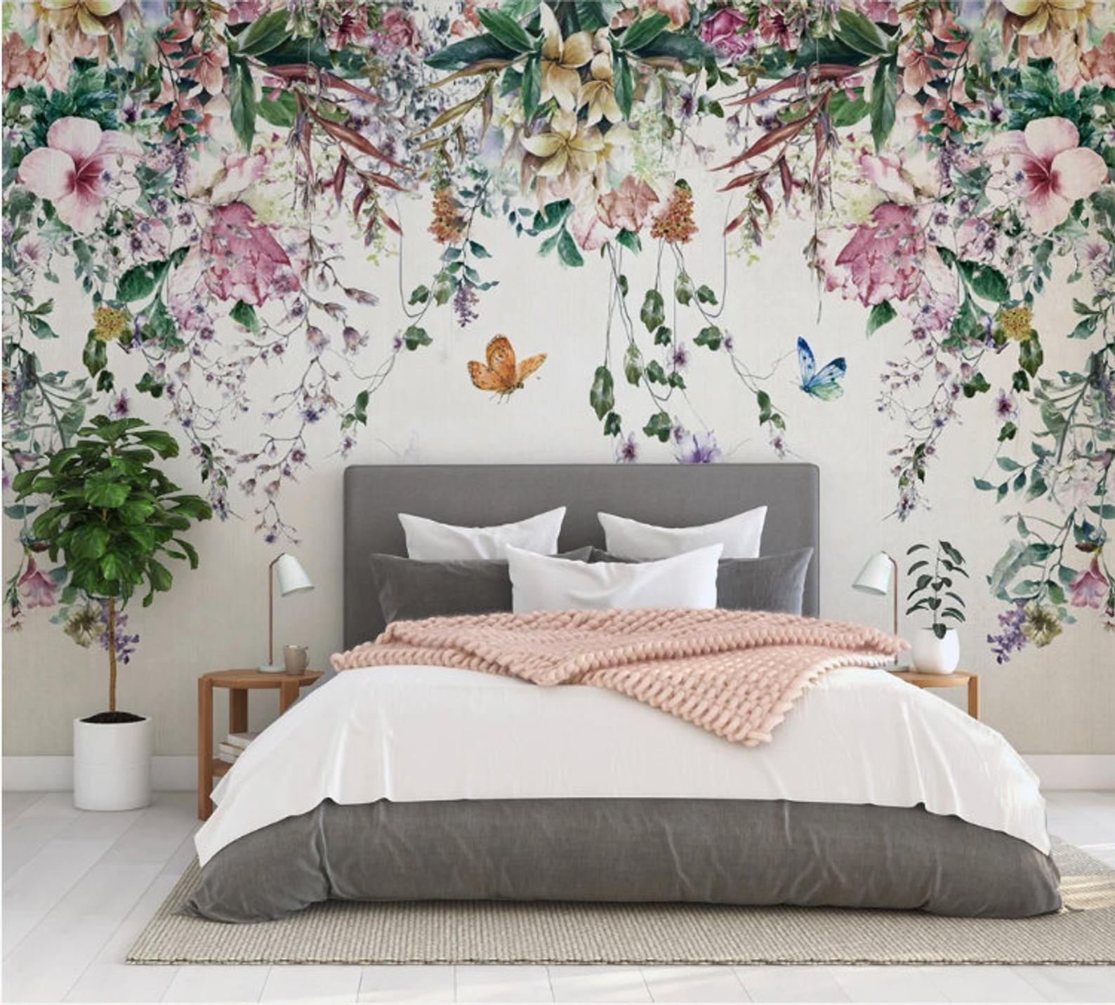 Colorful Flowers And Leaves Floral Wallpaper Self Adhesive Etsy Floral Wallpaper Bedroom Feature Wall Bedroom Wallpaper Bedroom Feature Wall Flower bedroom wallpaper images