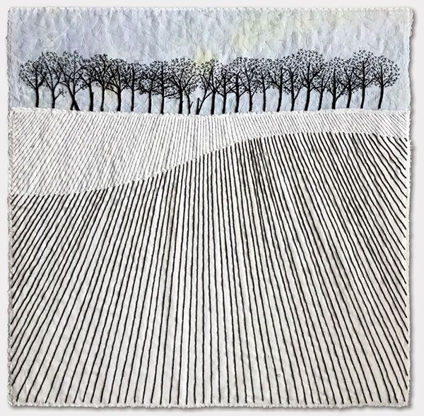 Trees on the Hill – sketched pencil lines as stitches