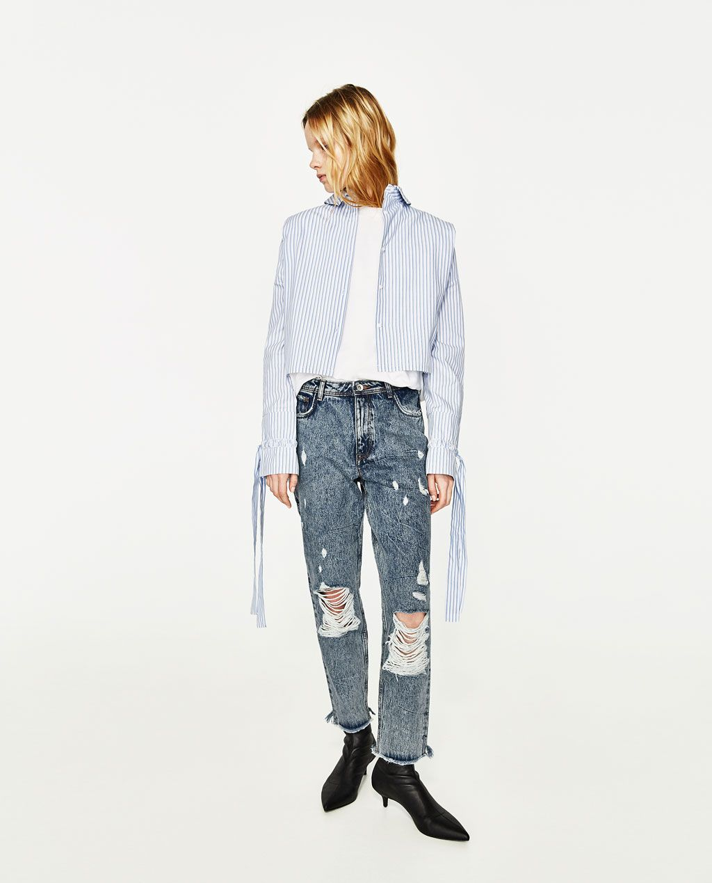 image 1 of high rise ripped mom fit jeans from zara. Black Bedroom Furniture Sets. Home Design Ideas