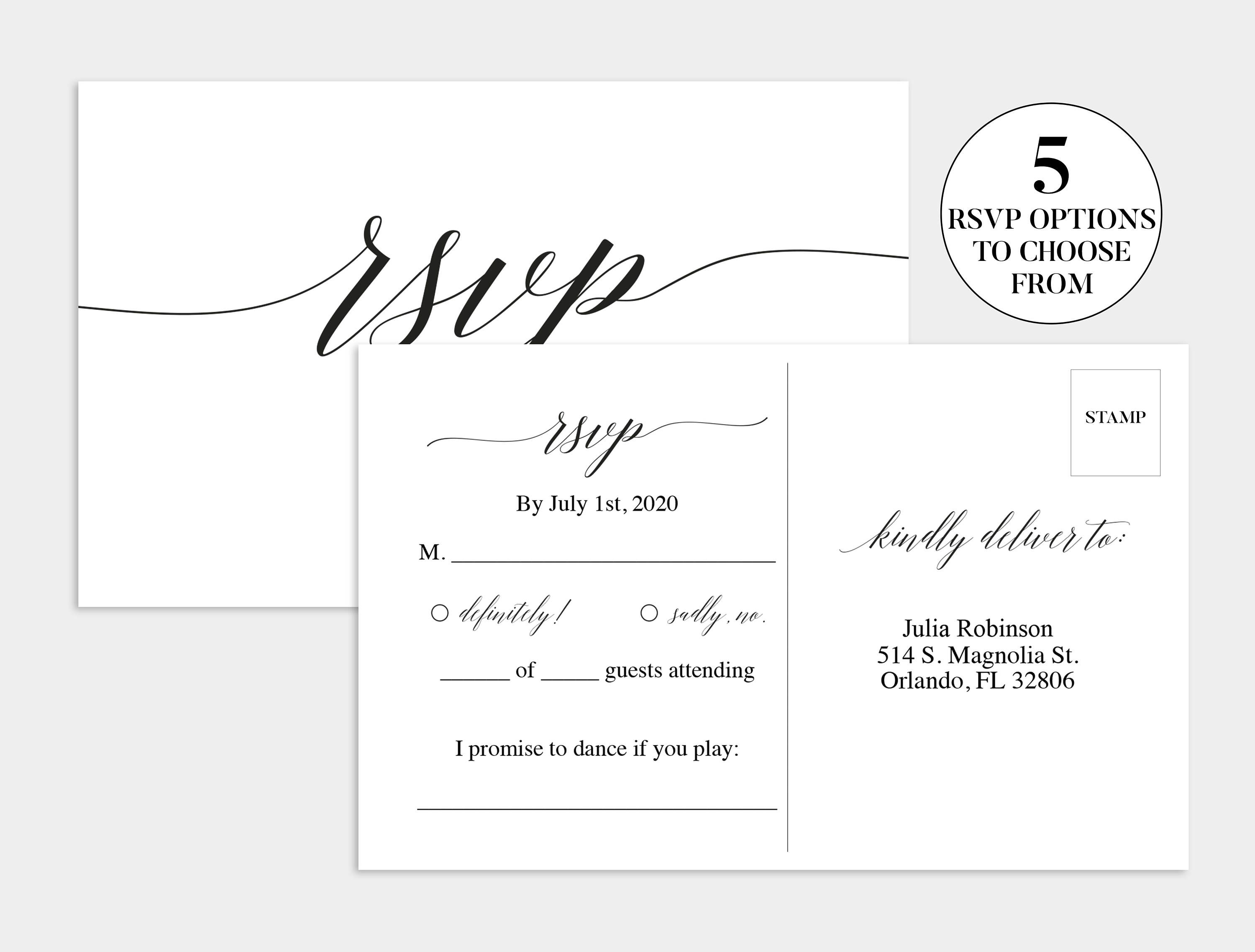 Wedding Rsvp Card Wedding Rsvp Template Wedding Rsvp Etsy In 2021 Wedding Rsvp Postcard Wedding Reply Cards Rsvp Postcard