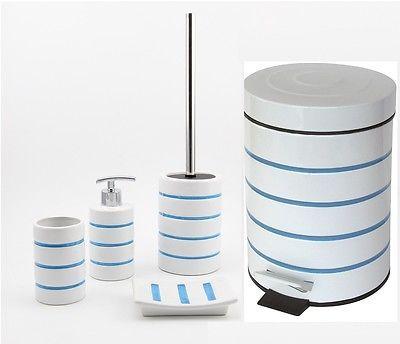 #Nautica #bathroom Accessories Set #tumbler Soap Dispenser Pedel Bin Toilet  Brush, View
