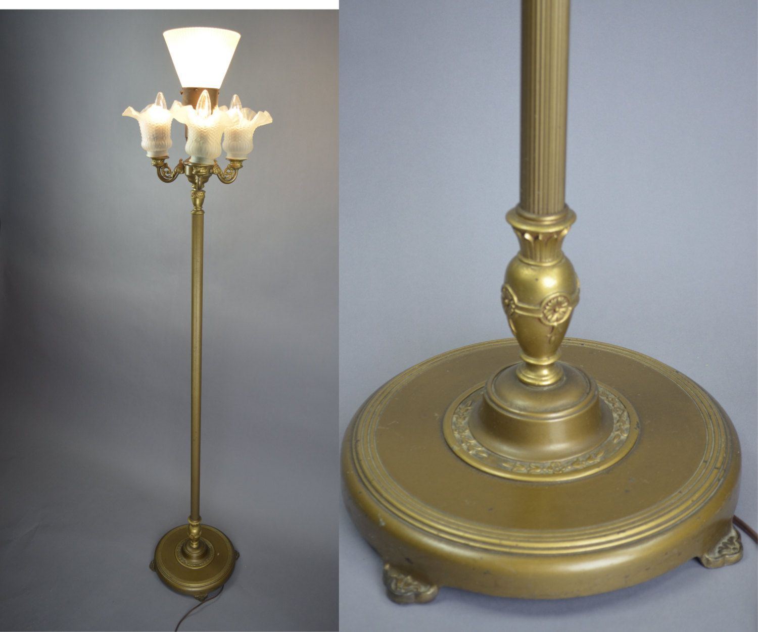 Mogul Floor Lamp With 3 Light Cluster \u0026 Corning Torchiere Diffuser ...