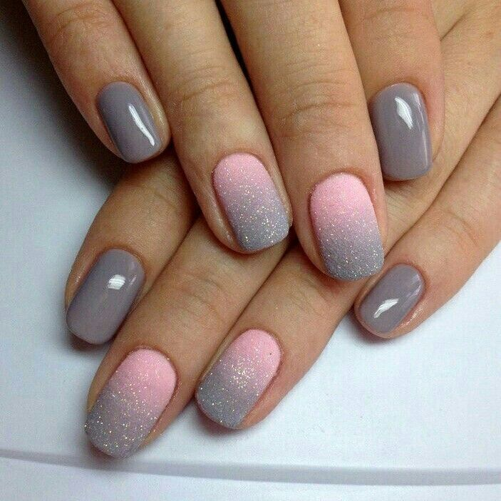 Uñas rosa con gris!!! | salon | Pinterest | Manicure, Nail nail and ...