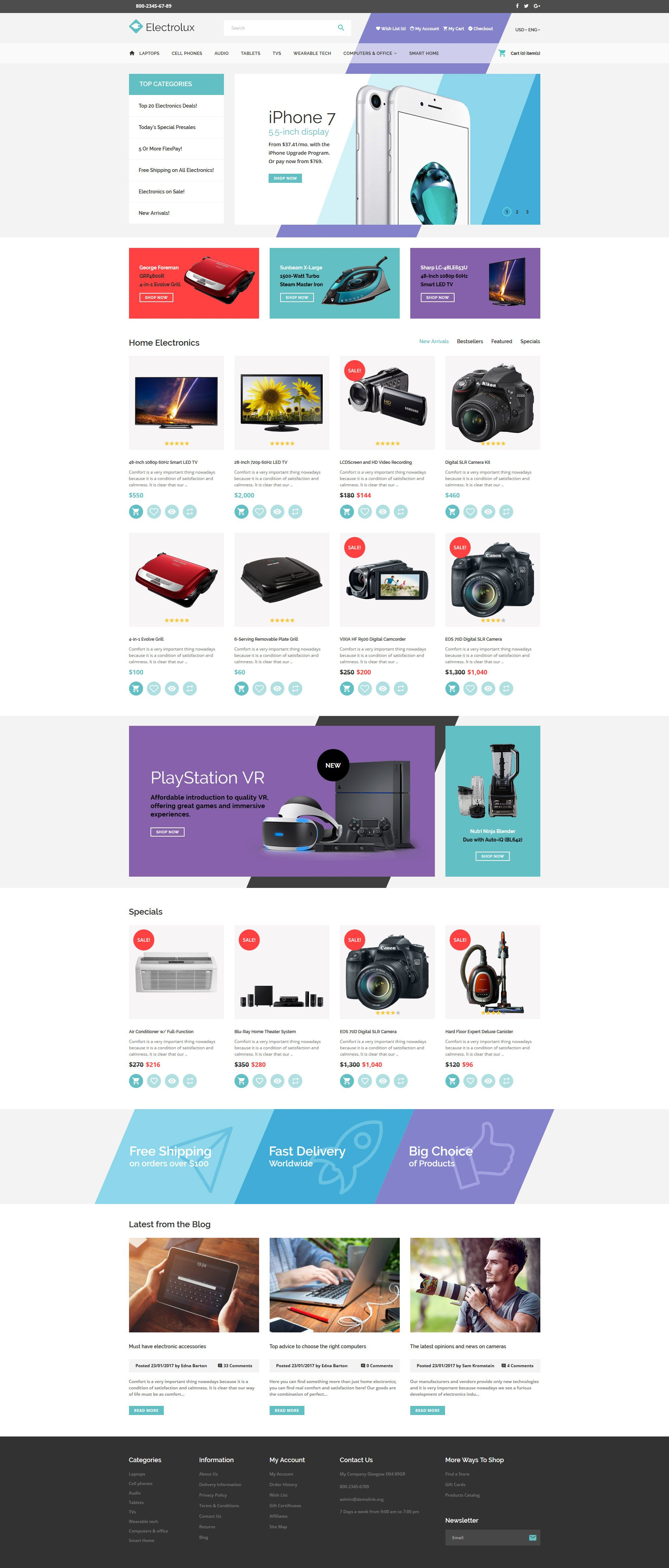 Electronics Store Responsive OpenCart Template | Template