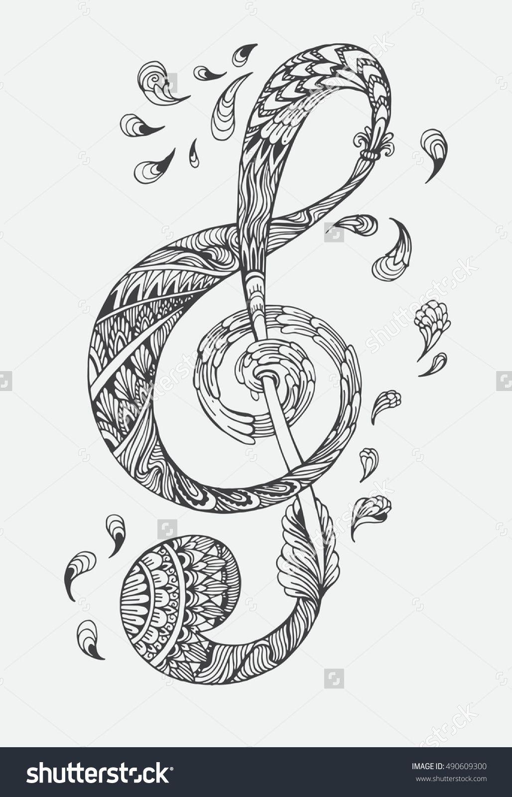 Hand drawn music key with ethnic ornaments doodle pattern vector hand drawn music key with ethnic ornaments doodle pattern vector illustration henna mandala zentangle biocorpaavc Gallery
