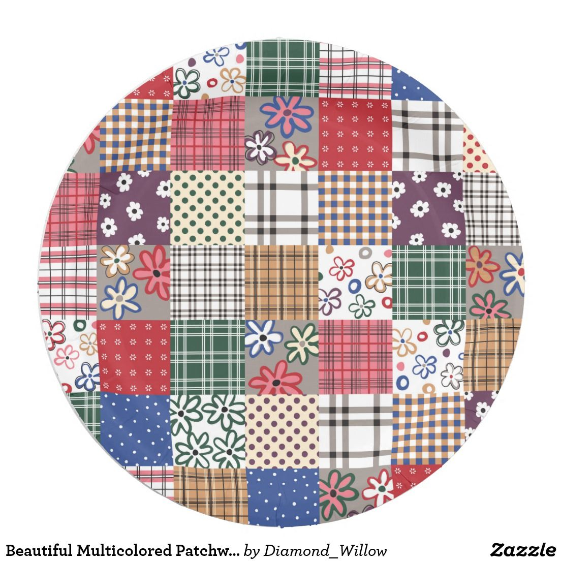 Beautiful Multicolored Patchwork Quilt Pattern Paper Plate  sc 1 st  Pinterest & Beautiful Multicolored Patchwork Quilt Pattern Paper Plate | Cool ...