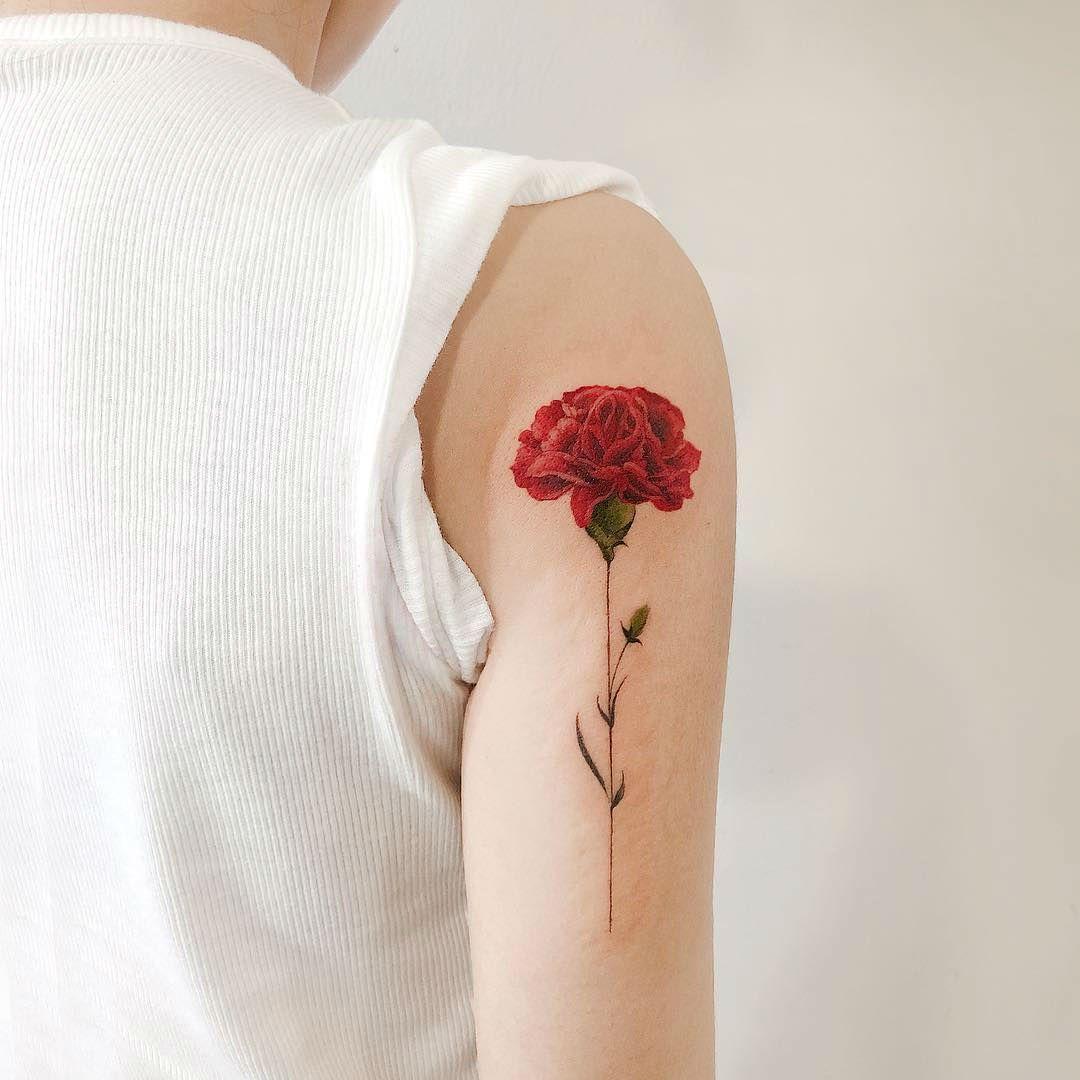 27 Beautiful Carnation Tattoo Ideas And Their Symbolism Carnation Tattoo Birth Flower Tattoos Carnation Flower Tattoo