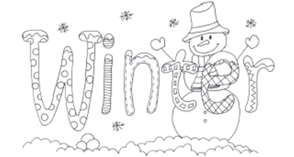 Word Of Winter Coloring Pages For Kids