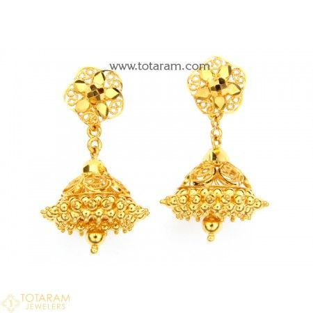 Gold Drop Earrings Indian gold jewelry Gold jewellery and Dangles