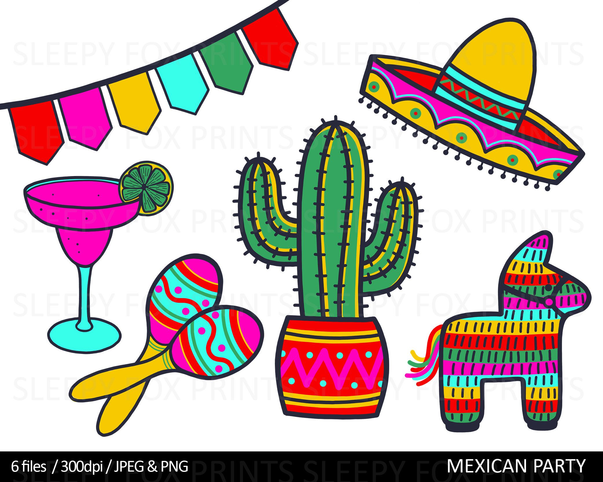 Mexican Fiesta Party Clip Art Mexico Clipart Cactus Etsy Fiesta Dibujo Gorro Mexicano Dibujos De Sombreros