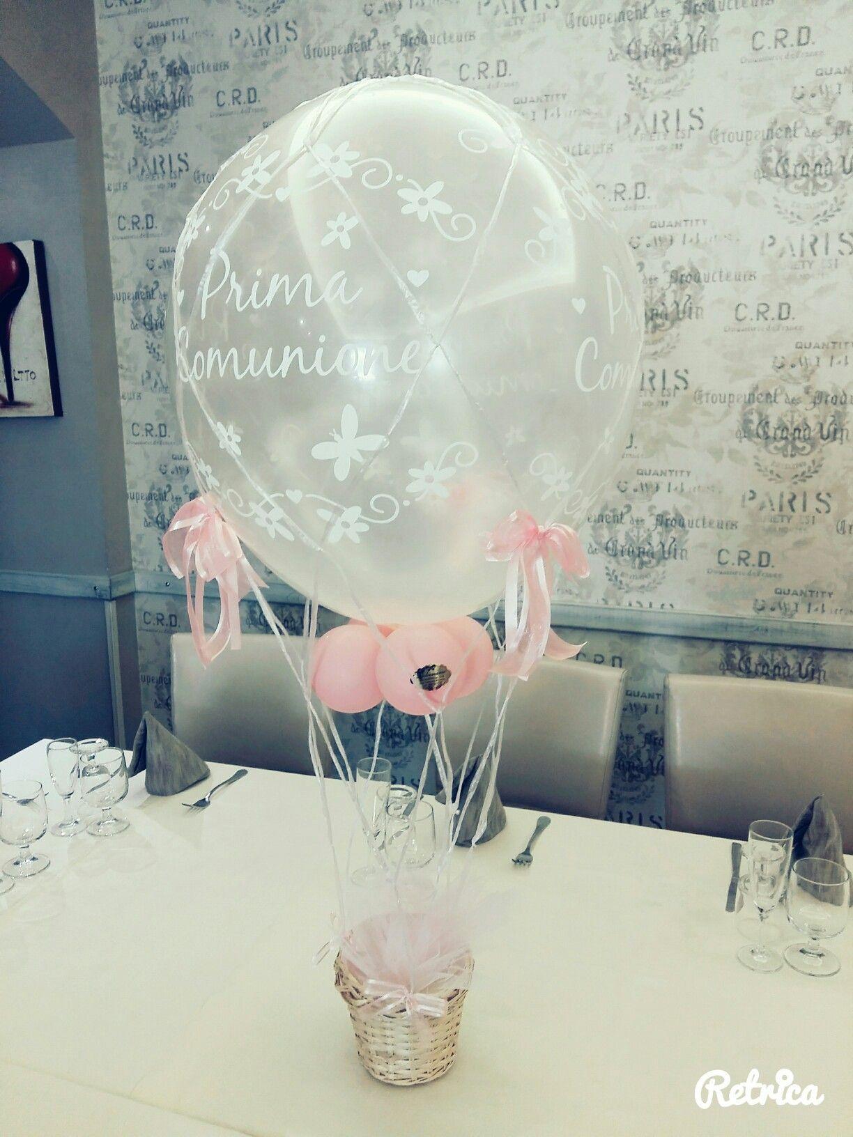 Dolcemania palloncini foggia puglia mongolfiera balloons prima comunione balloons - Composizione palloncini da tavolo ...