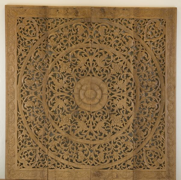 Wall Decor Lotus Flower Teak Carving 48 x 48 Lotus Carving beautiful #Wall  # Art