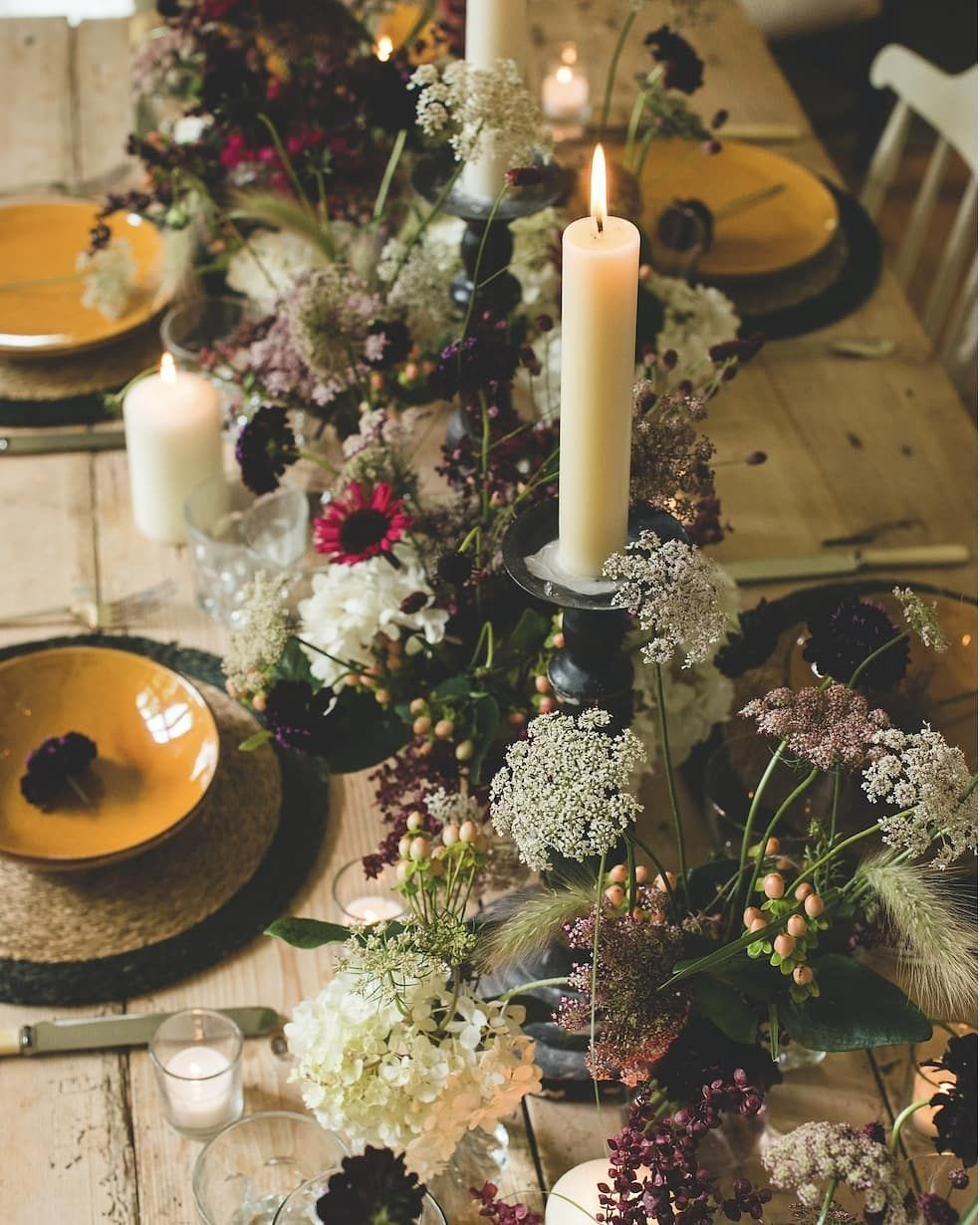 Kitten Grayson Flowers On Instagram A Summer Meadow Davewattsphoto Tablescape Interiorinspo Candle Tablescapes Pillar Candles Table Centerpieces