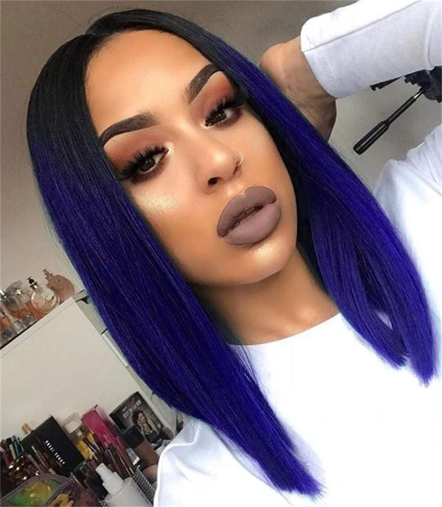 Quick Wig Ombre Wigs Short Straight Synthetic Wigs Middle Part Dark Roots Heat Resistant Cosplay Party Wigs for Women Black to Sapphire Blue – Another Queens Treasure