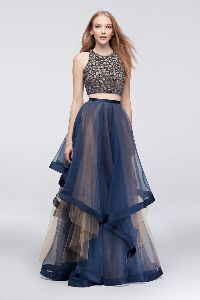 1e09b23157b2 Beaded Two-Piece Dress with Layered Organza Skirt - Navy (Blue), 4 ...