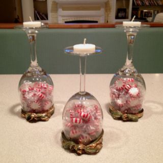 My Christmas Wine Glass Candle Holders Wine Glass Candle