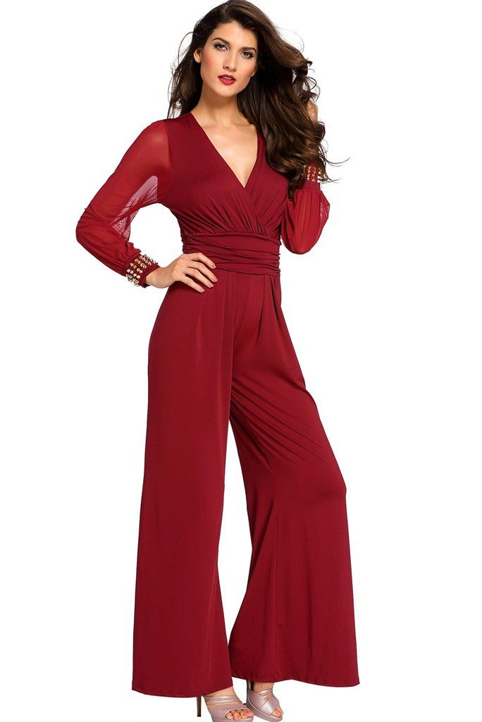df8439fa6a0 Burgundy Embellished Cuffs Mesh Long Sleeves Wide Leg Formal Jumpsuit
