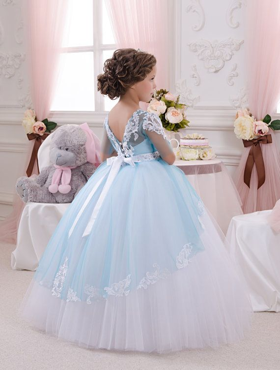 White And Blue Flower Girl Dress Wedding Party Holiday
