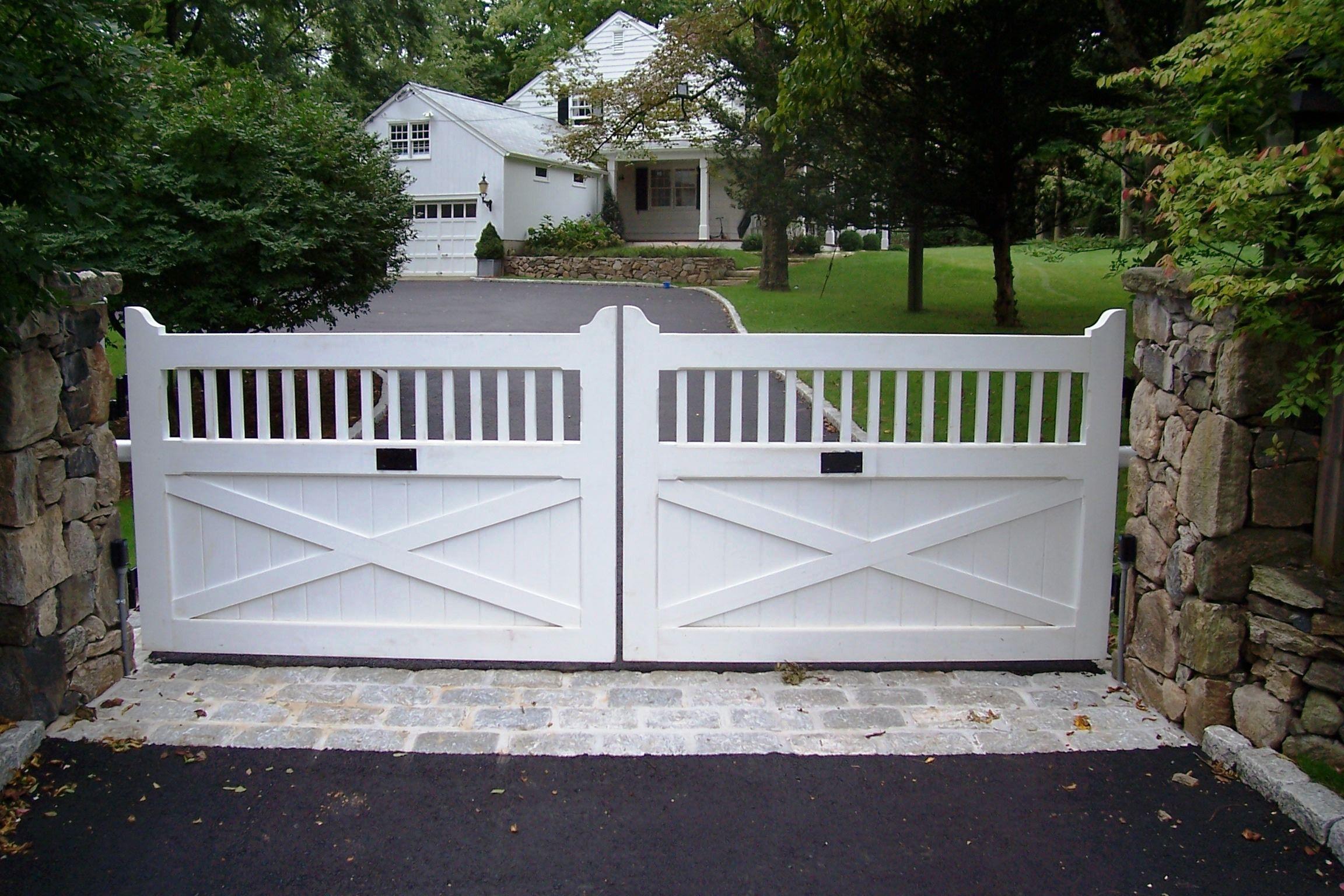 Automated White Wood Driveway Gate Wood Gates Driveway Wood