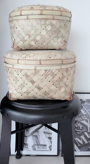 baskets from bloomingville paniers pinterest storage ottoman bench. Black Bedroom Furniture Sets. Home Design Ideas