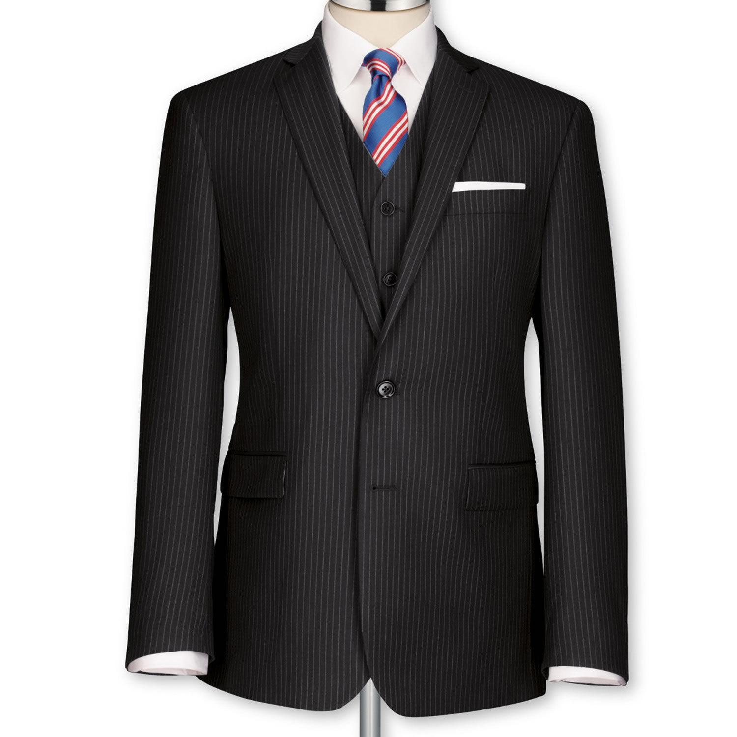 Black fine stripe tailored fit suit | Men's business suits ...