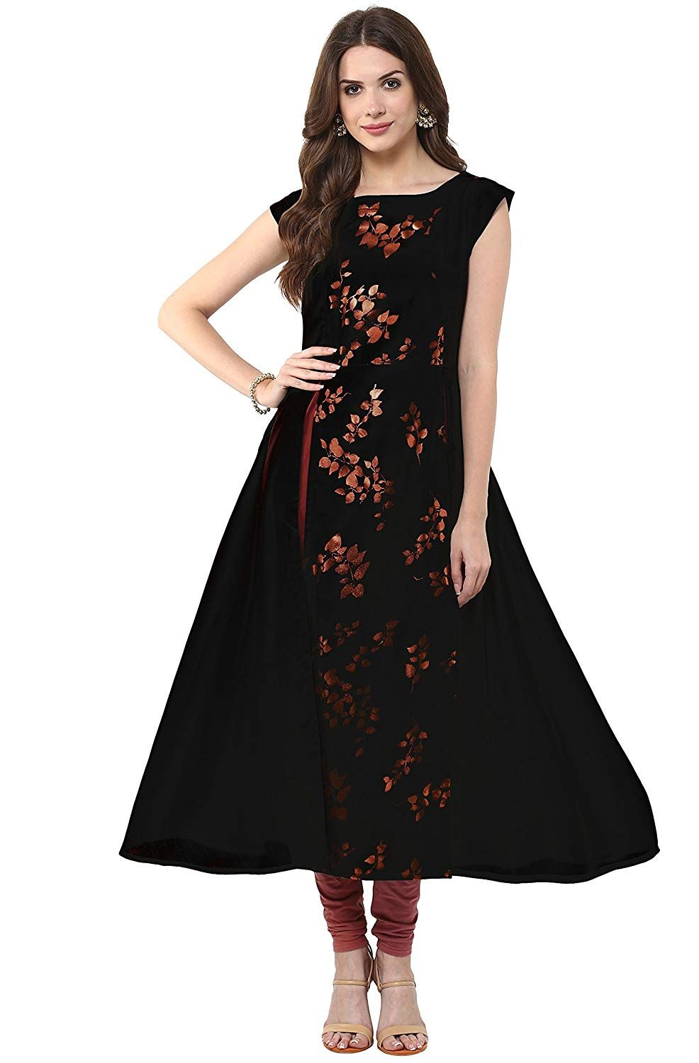 6ab834aa40c9 Janasya Women s Crepe Anarkali Kurta (JNE1525-KR-UDF19-A  Black  small)   Amazon.in  Clothing   Accessories