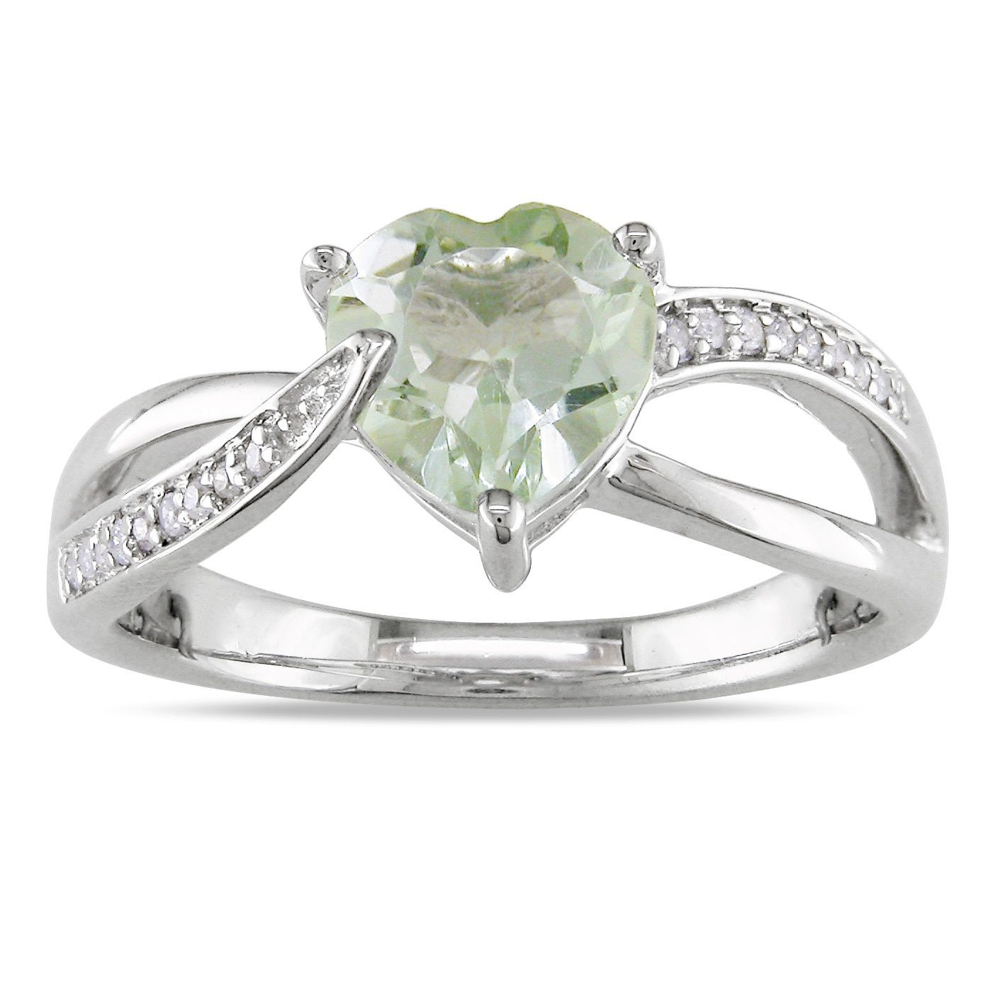 Miadora Sterling Silver Green Amethyst And Diamond Heart Ring (hi, I2i3)  (size 8), Women's, Size: 105, White