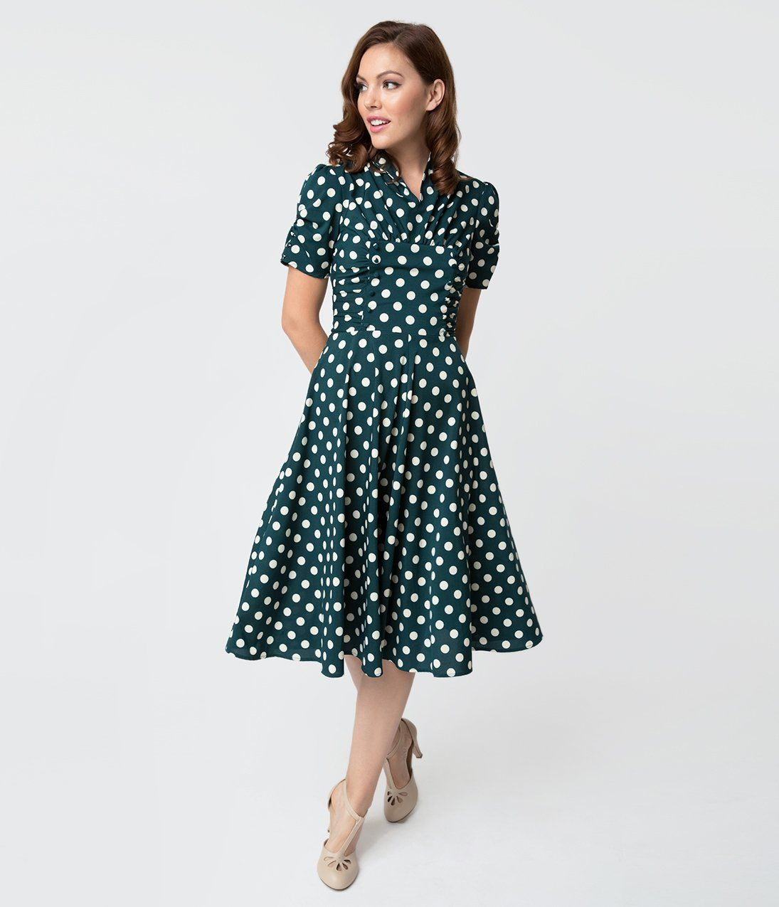 eba2c6a6a71f 1940s Dresses | 40s Dress, Swing Dress Unique Vintage 1940S Style Emerald  Green White Dot Camilla Midi Dress vintagedancer.com