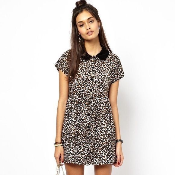 ed9c6e927320 Motel Leopard Print Dress Super cute leopard baby doll dress with a velvet  collar. New with tags! Motel Rocks Dresses