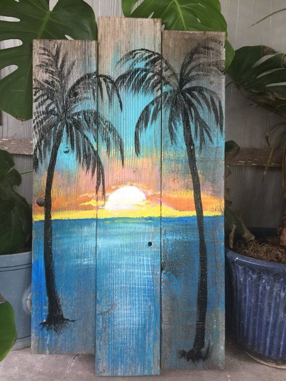 Beach Palm trees Sunset CUSTOM 30x16 Sign Palm trees, ocean, sunset, Rustic wood sign, beach wall ha #woodart