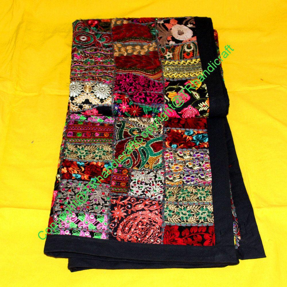 Indian Khambadi quilt Bedspread Queen Size Handmade Quilt Coverlet Blanket Bed sheet Vintage Patchwork Embroidery Quilt