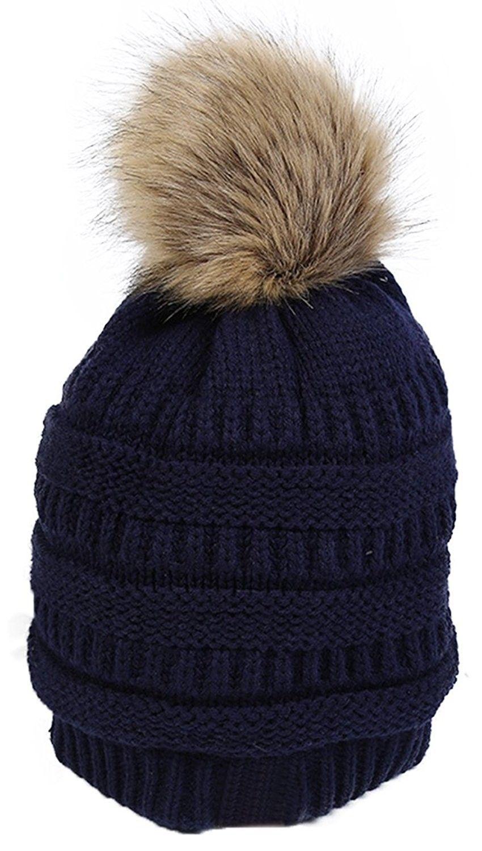 606e69360a2 Winter Knit Pom Pom Hat Faux Fox Raccoon Fur Cuff Beanie For Women Girls -  Dark Blue - C1189463UER - Hats   Caps