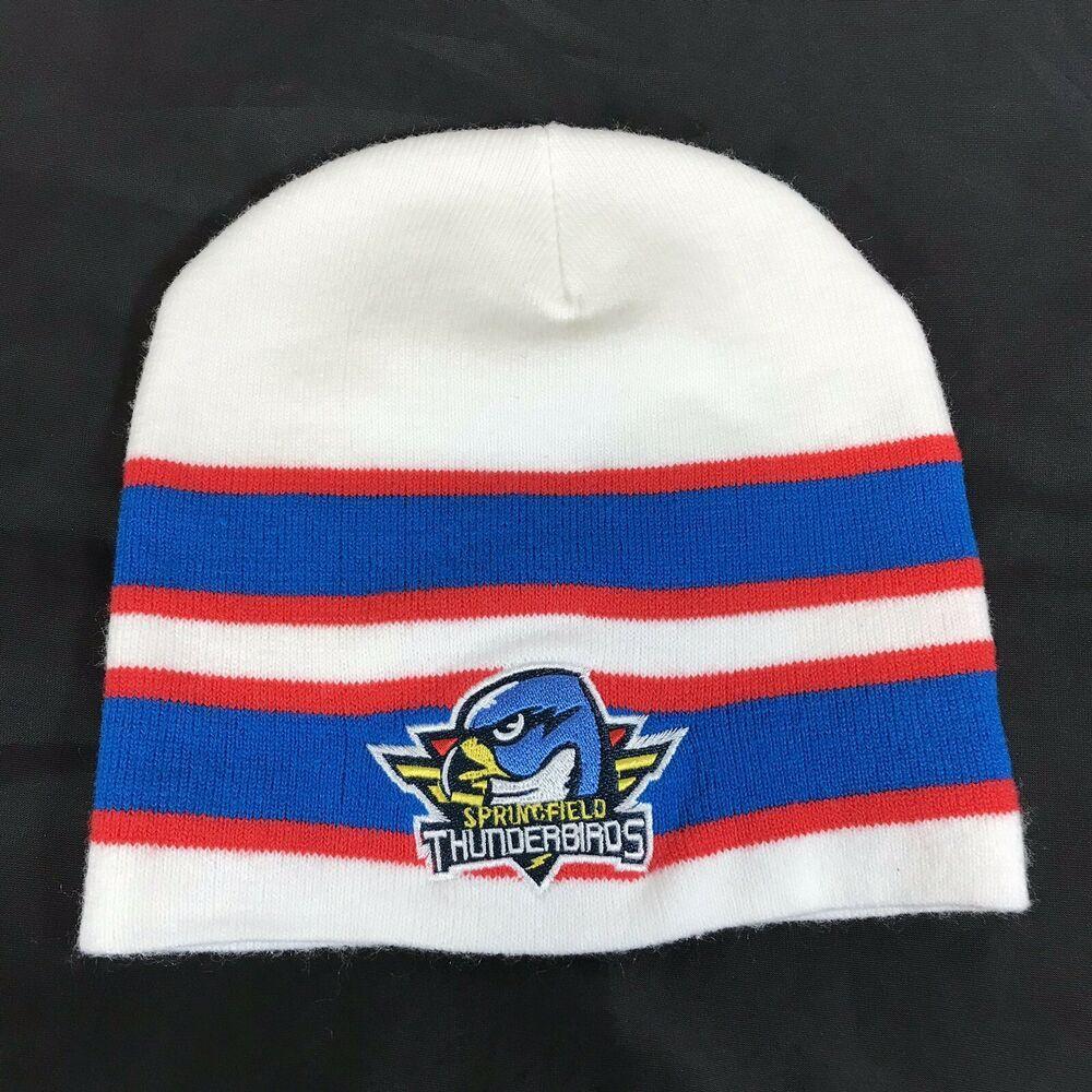 a0887b8e14a  AHL  Springfield  Thunderbirds Knit  Beanie Hat Embroidered  Hockey  Acrylic  ebay
