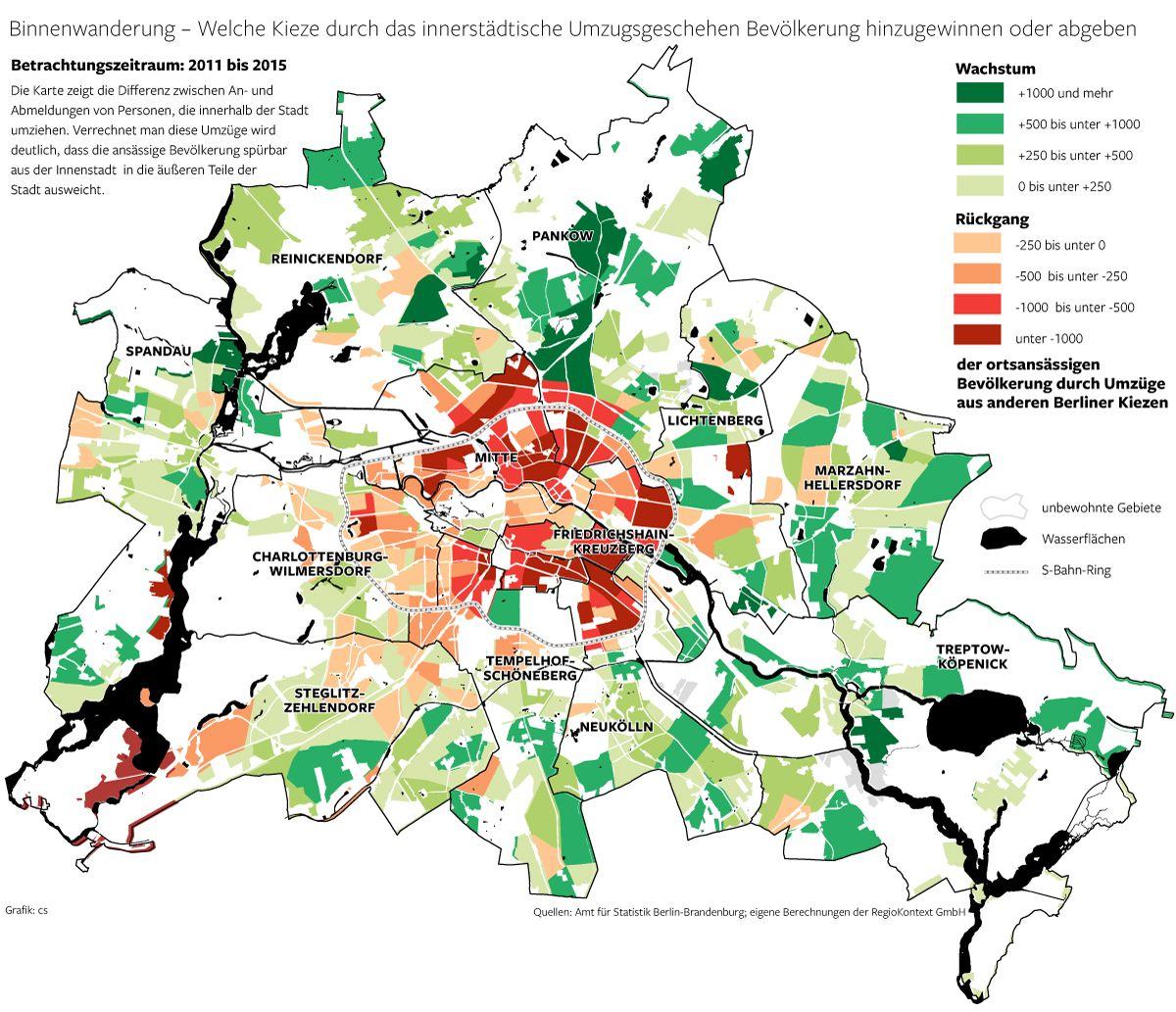 Karte Der Gentrifizierung In Berlin Binnenwanderung Zwischen 2011 Und 2015 Bei Innerstadtischen Umzugen Erschienen In Der Berliner M Infografik Grafik Karten