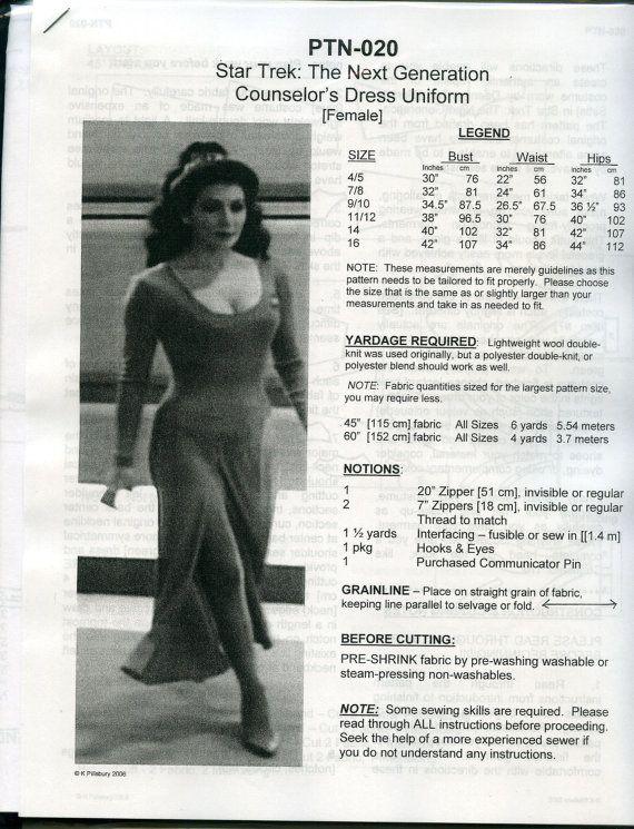 Star Trek - TNG Next Gen Deanna Troi Uniform Pattern: Sizes 4-16 PTN ...