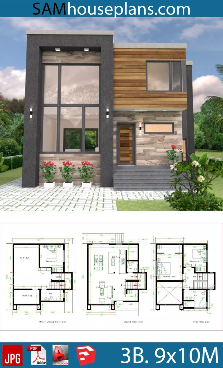 House Plans 9x10 With 3 Bedrooms Samphoas Plan En 2020 Plan Maison Architecte Maison Architecte Plan Maison