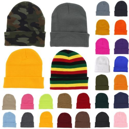 c0ad76a448ae95 Plain Beanie Knit Ski Cap Skull Hat Warm Solid Color Winter Cuff New Blank  Beany | eBay (VERY CHEAP, I LIKE RED BLUE BLACK, DARK GREEN.