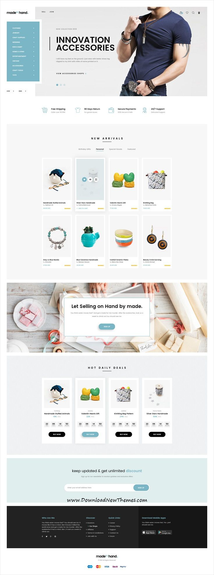 Made By Hand Is A Clean And Modern Design Psdthemes For Handmade Crafts And Gift Store Eco Ecommerce Web Design Ecommerce Website Design Web Layout Design