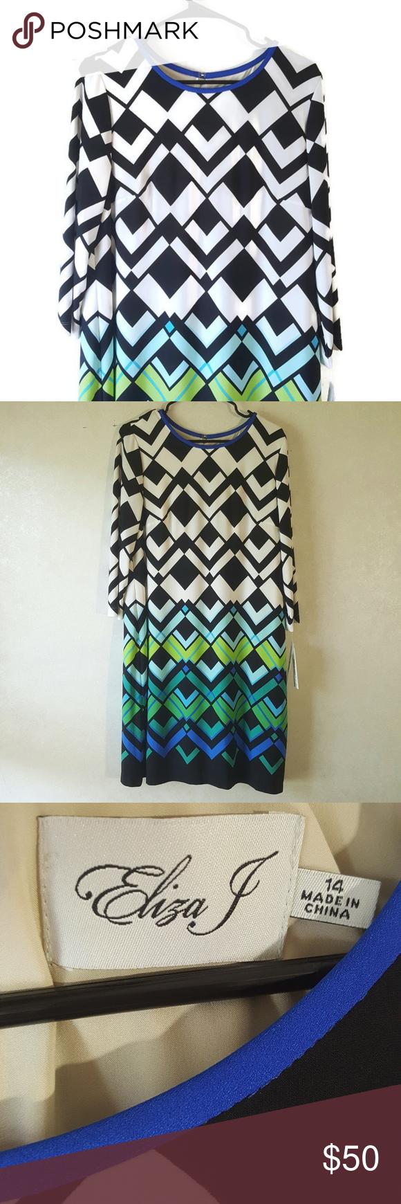 Eliza j long sleeve shift dress geometric pattern nwt pinterest