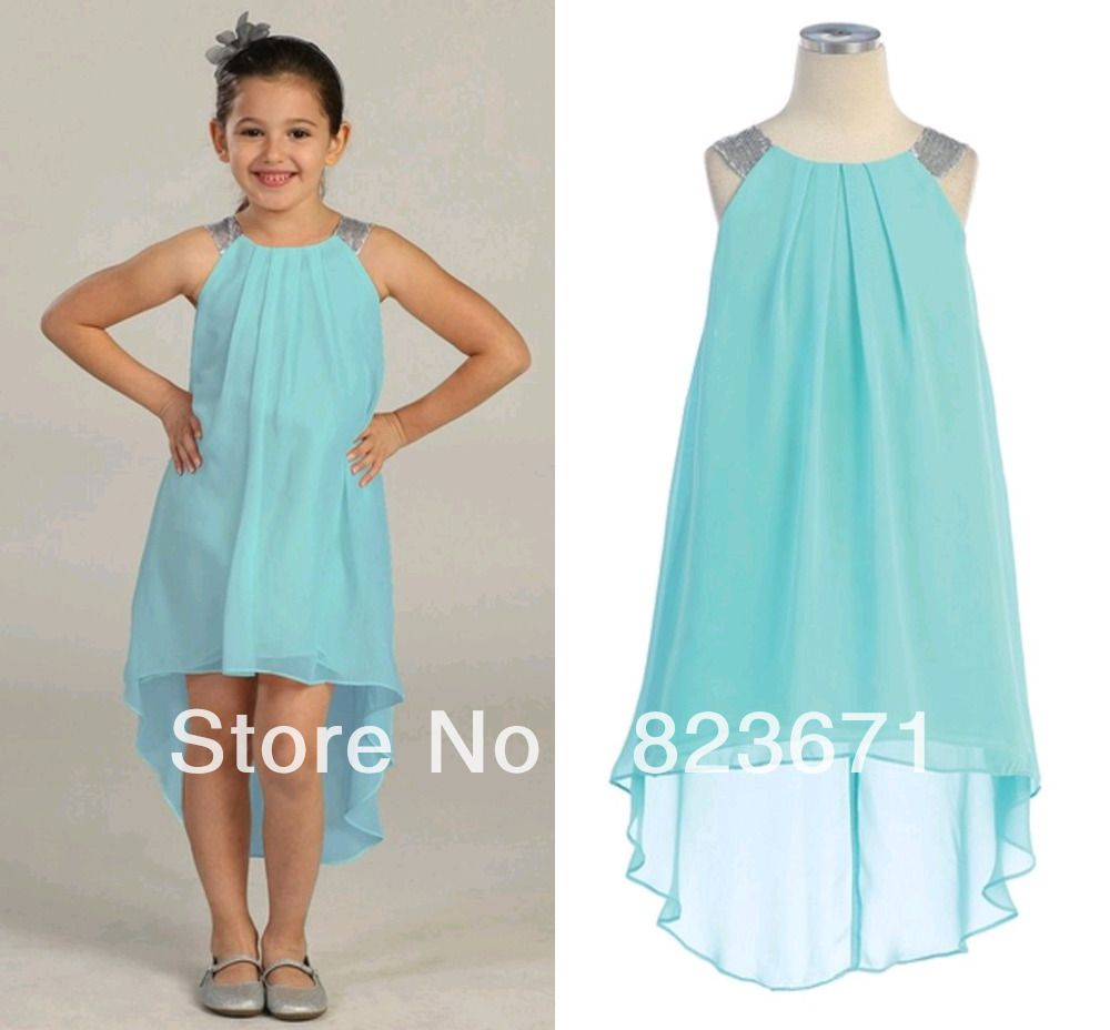 Green dress short in front long in back  Free Shipping  Halter sequins A Line Ruched Chiffon Front Short