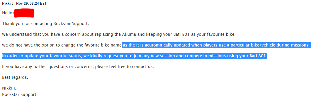 According to Rockstar support you can change your favorite