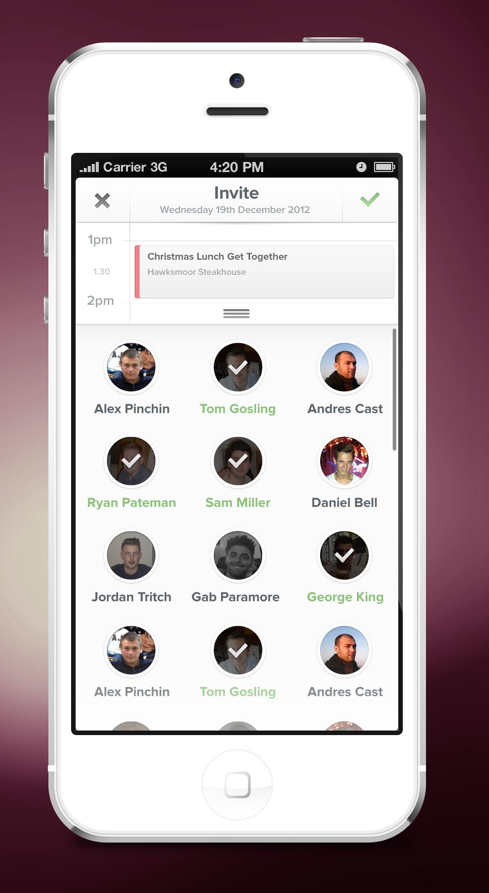 Schedule App - #ui #mobile 하객목록할때 참고