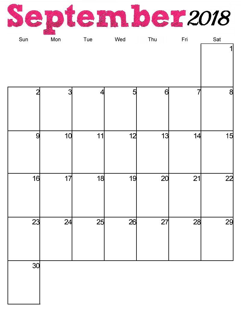 Blank Calendar September 2018 Printable Template Download Free