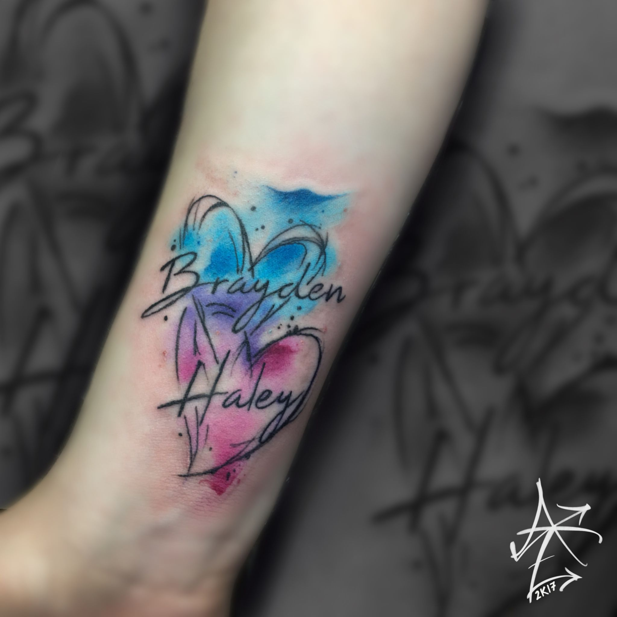 Watercolor Hearts Tattoo By Adam Zimmer Watercolor Heart Tattoos