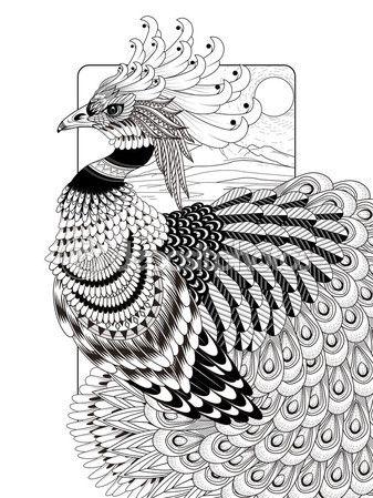 Página para colorear de suntuosa del pavo real — Vector de stock ...