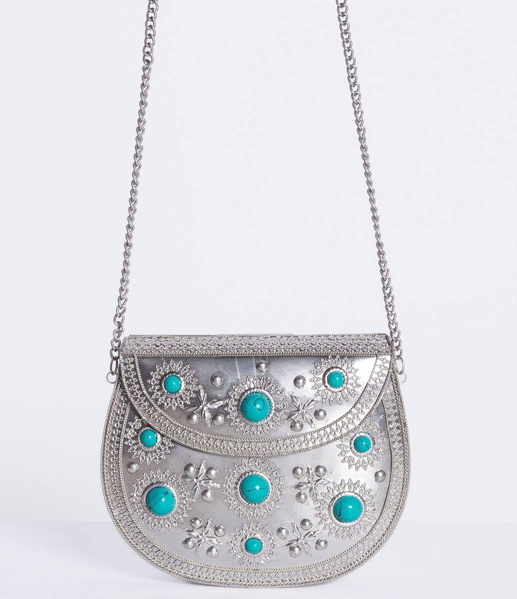 Bolsa Feminina Metalizada com Pedraria - Lojas Renner - R$90