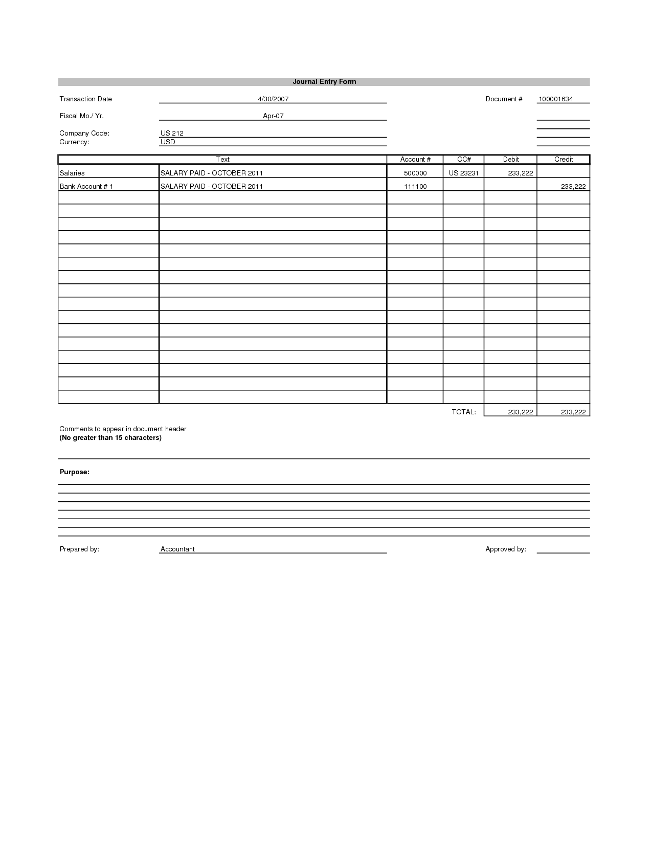 Accounting Journal Entry Template Excel With Images