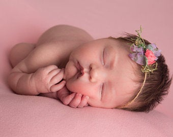 Floral Tieback Headband  Photo Photography Prop  Baby Girl  Newborn  Rustic  Vintage  Jute  Lavender Purple and Coral Unique