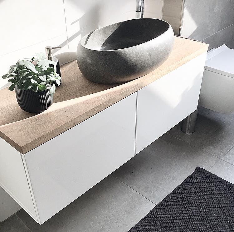 Badezimmer Waschtisch Diy Besta Sideboard Eichenplatte Terrazzo Waschbecken 3 Badezimmer Waschtische Badezimmer Badezimmer Grun
